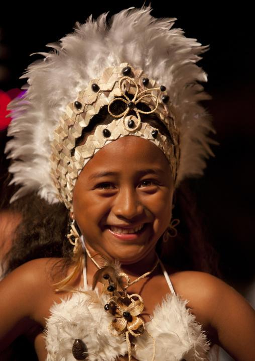 Girl During Tapati Festival In Hanga Roa, Easter Island, Chile