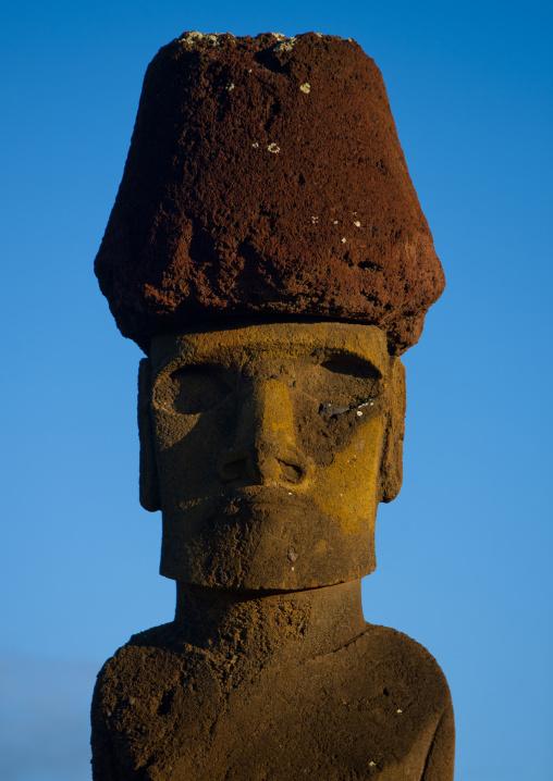 Moai In Ahu Nau Nau At Anakena Beach, Easter Island, Chile