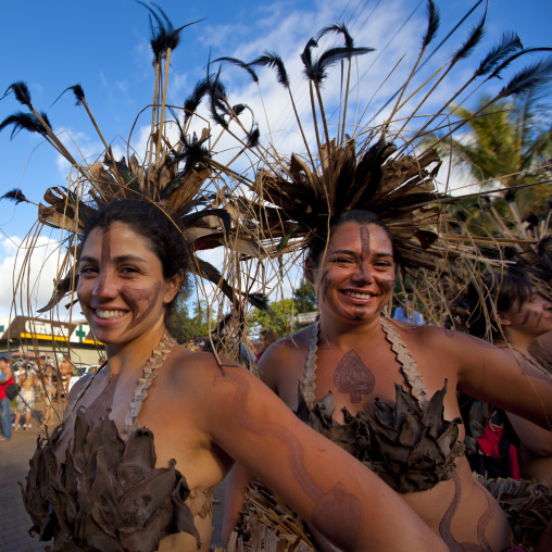 Beautiful Women During Carnival Parade, Tapati Festival, Easter Island, Chile