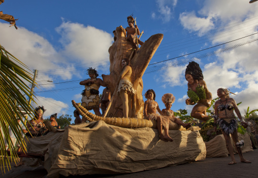 Float Carnival Parade During Tapati Festival, Easter Island, Chile