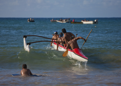 Canoe Competition At Anakena beach, Easter Island, Chile