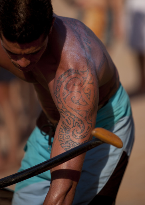 Tattooed Man Ready For Canoe Competition At Anakena beach, Easter Island, Chile