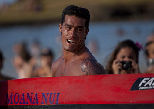 Tattooed Men Ready For Canoe Competition At Anakena beach, Easter Island, Chile