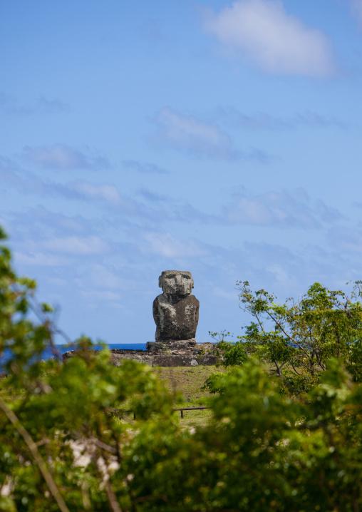 Lone Moai At Anakena beach, Easter Island, Chile
