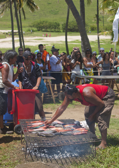Free Food Provided During Tapati In Anakena beach, Easter Island, Chile
