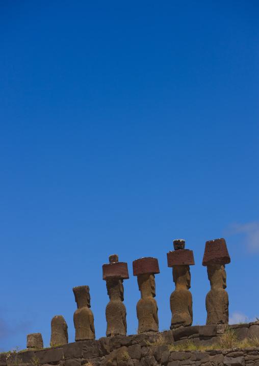 Moais In Ahu Nau Nau At Anakena Beach, Easter Island, Chile