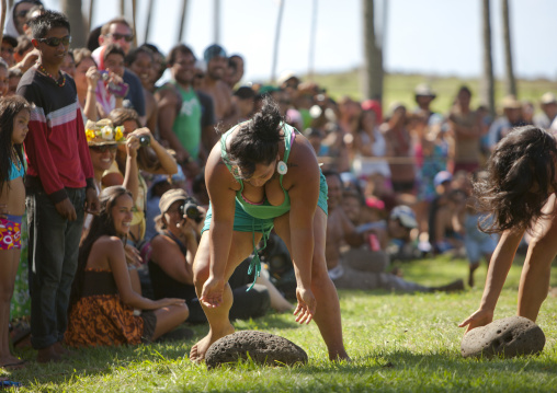 Stone Compettion At Anakena Beach During Tapati Festival, Easter Island, Chile