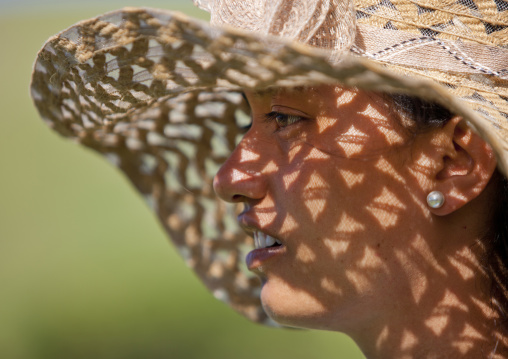 Woman With Hat In Anakena beach, Easter Island, Chile