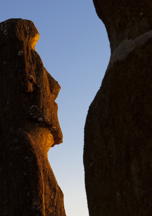Moais In Ahu Akivi At Sunset, Easter Island, Chile