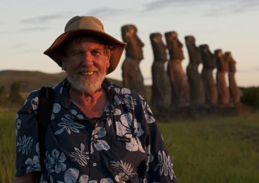 Archeologist Edmundo Edwards In Ahu Akivi, Easter Island, Chile