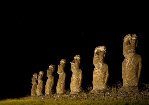 Illuminated Moais In Ahu Akivi, Easter Island, Chile