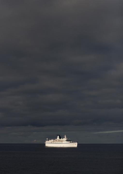 Cruise Ship In Easter Island, Hanga Roa, Chile