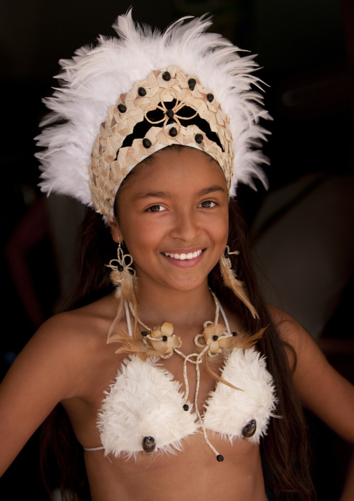 Beautiful Girl During Carnival Parade, Tapati Festival, Easter Island, Chile