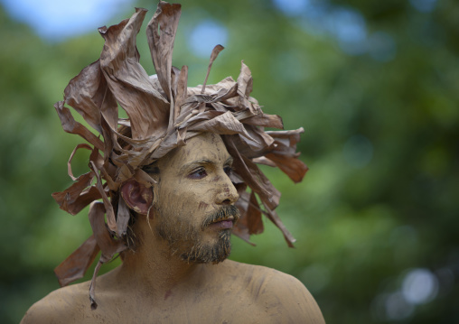 Man In Carnival Parade During Tapati Festival, Easter Island, Chile