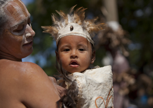 Father And Kid During Tapati Festival, Easter Island, Chile