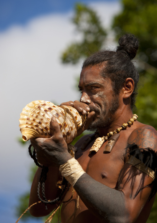 Warrior Blowing n A Shell During Carnival, Tapati Festival, Easter Island, Chile