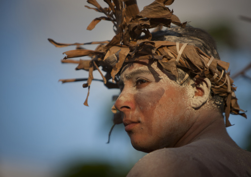 Man With Traditional Make Up During Tapati Festival, Easter Island, Chile