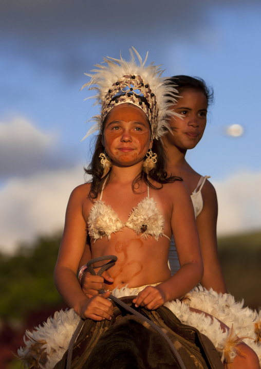 Girls On A Horse During Tapati Festival, Easter Island, Chile