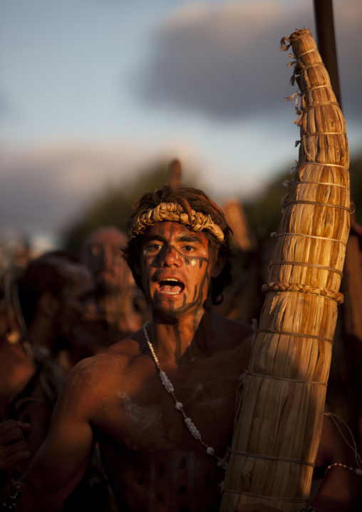 Man With Totora Boat During Tapati Festival, Easter Island, Chile