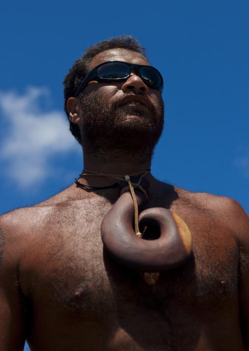 Native Man From Easter Island With Big Pendant, Hanga Roa, Chile
