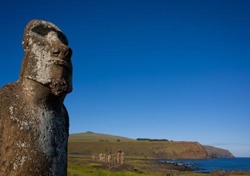 Monolithic Moai Statue At Ahu Tongariki, Easter Island, Chile