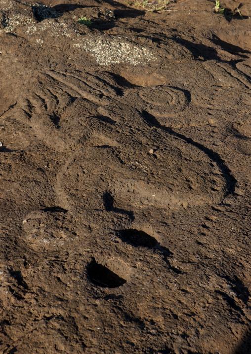 Bird Man Petroglyph In Ahu Tongariki Area, Easter Island, Chile