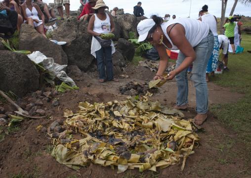 Oven During Tapati Festival, Easter Island,Hanga Roa, Chile