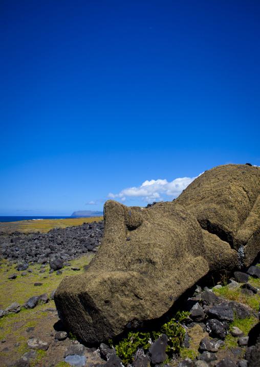 Fallen Moais At Ahu Maki, Easter Island, Chile