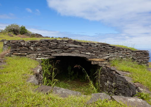 Restored Houses In The Ceremonial Village Of Orongo, Easter Island, Chile