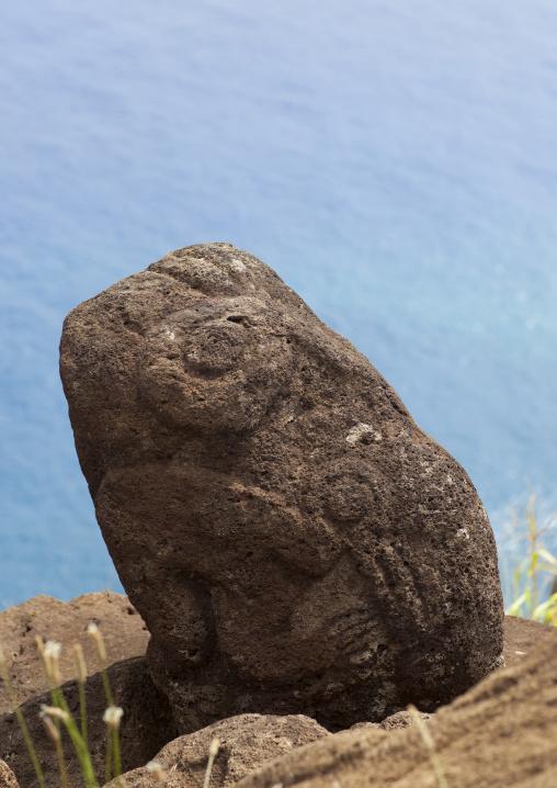 Bird Man Petroglyph In Orongo Village, Easter Island, Chile