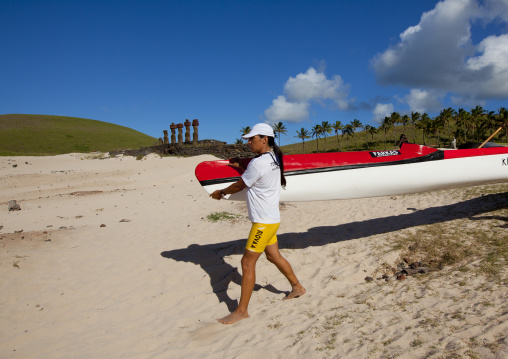 Female Canoe Competition At Anakena beach, Easter Island, Chile