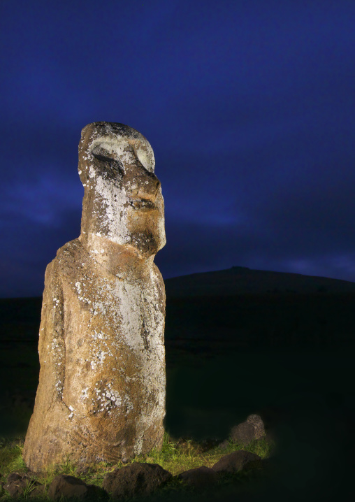 Monolithic Moai Statue At Night At Ahu Tongariki, Easter Island, Chile
