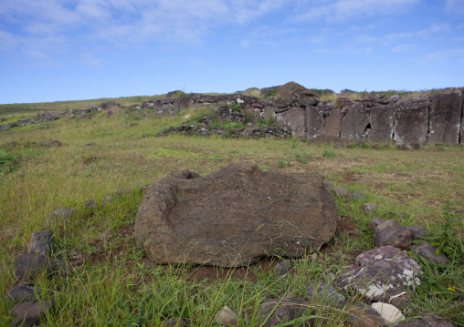Moai Head On The Ground  In Vinapu Site, Easter Island, Chile