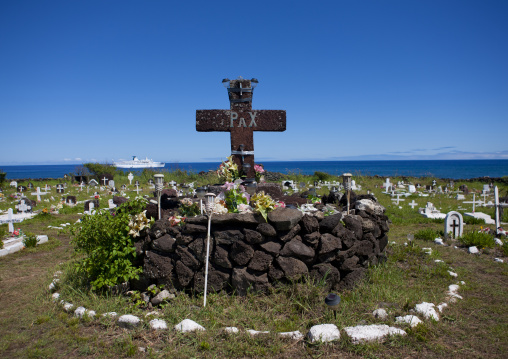 Decorated Tombs In Hanga Roa Cemetery, Easter Island, Chile