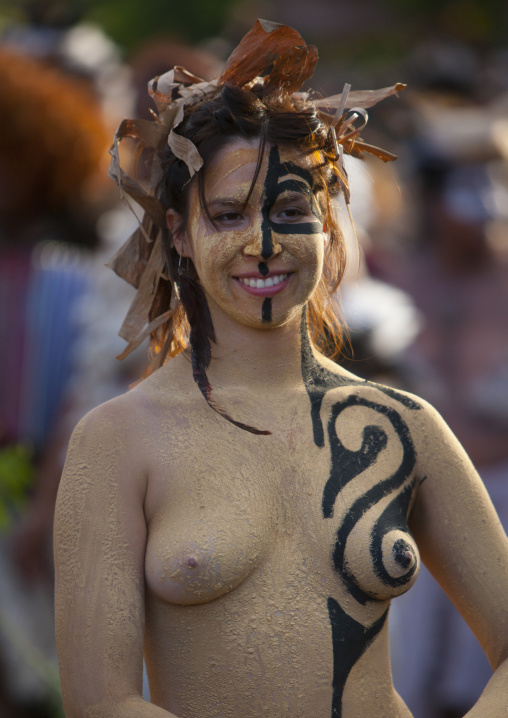 Body Painted Woman During Carnival Parade, Tapati Festival, Easter Island, Chile
