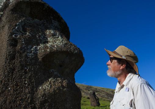 Edmundo Edwards In Front Of A Moai In  Rano Raraku, Easter Island, Chile