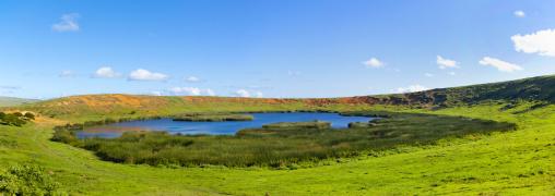 The crater of Rano Raraku, Easter Island, Chile