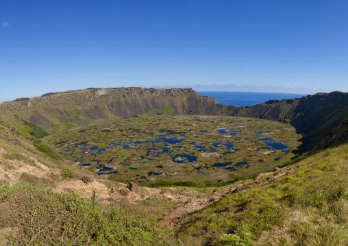 Rano Kau Volcano Crater , Easter Island, Chile