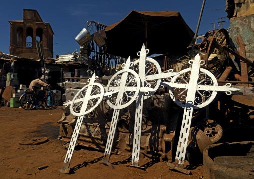 Eritrea, Horn Of Africa, Asmara, crosses in medebar metal market