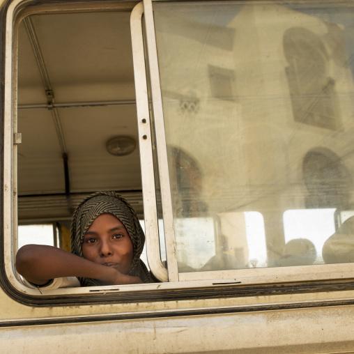 Eritrea, Horn Of Africa, Massawa, kid in a bus school