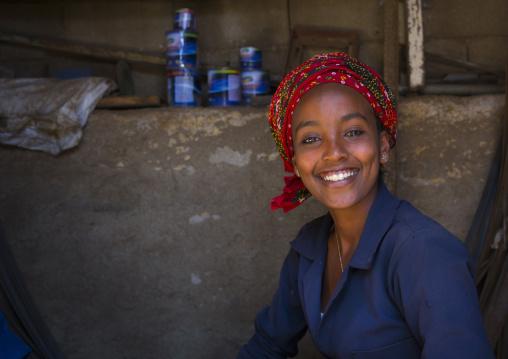 Smiling Woman In Medebar Metal Market, Central region, Asmara, Eritrea
