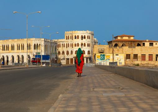 Eritrean woman on the causeway, Northern Red Sea, Massawa, Eritrea