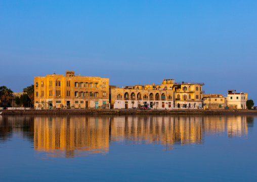 Old ottoman architecture buildings seen from the sea, Northern Red Sea, Massawa, Eritrea