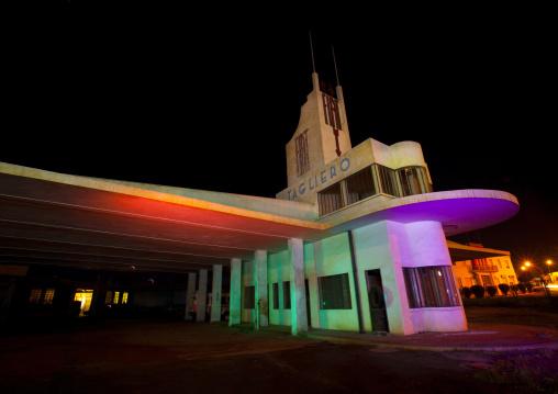 Fiat Tagliero Garage And Service Station At Night, Central region, Asmara, Eritrea