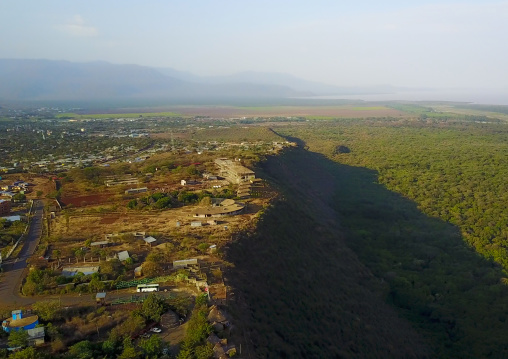 Aerial view of the Nechisar national park and lakes chamo and abaya, Gamo gofa omo, Arba Minch, Ethiopia