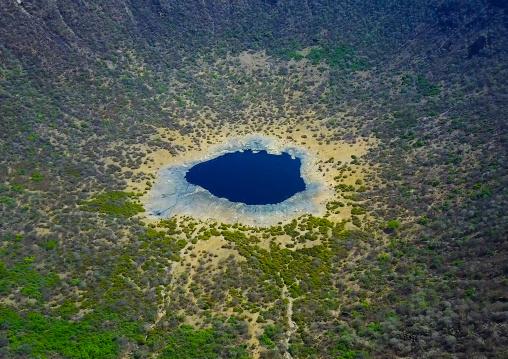 Aerial view of the volcano crater where Borana tribe men dive to collect salt, Oromia, El Sod, Ethiopia