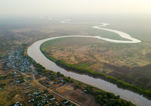 Aerial view of the Omo river, Omo Valley, Omorate, Ethiopia
