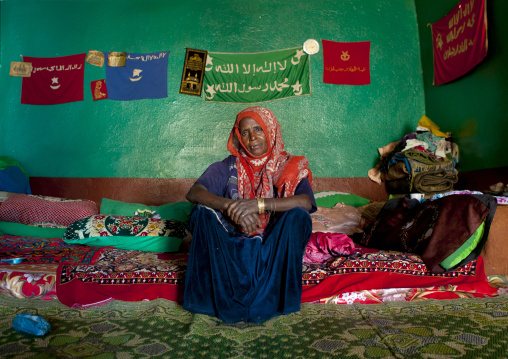 Portrait Of A Harari Woman Inside Her House, Harar, Ethiopia