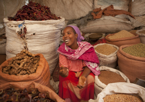 Portrait Of A Woman Seller With Toothy Smile In The Market, Dire Dawa, Ethiopia