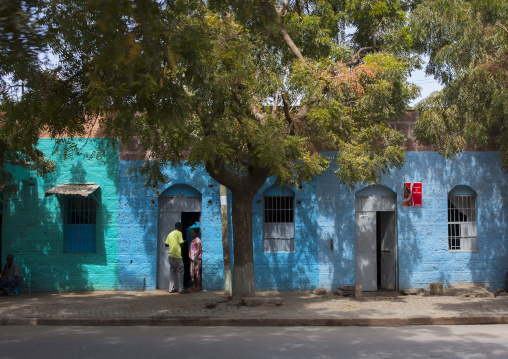 Blue Painted Building In Dire Dawa Street, Ethiopia